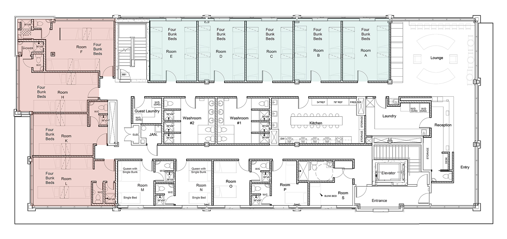Canmore Downtown Hostel Floor Plan - Dorm rooms