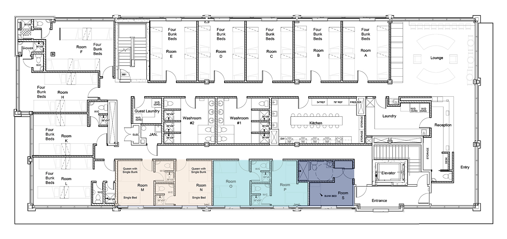 Canmore Downtown Hostel Floor Plan - Private rooms